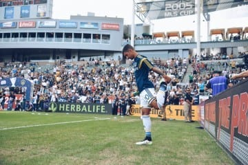 LA Galaxy Defender AJ DeLaGarza stretches before the game