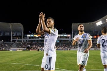 Giovani Dos Santos makes his LA Galaxy debut against Central FC in the group stage of the CCL on August 6, 2015. Sebastian Lletget also pictured. Photo by LA Galaxy