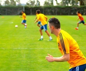 Robbie Keane works on the sideline of LA Galaxy training.