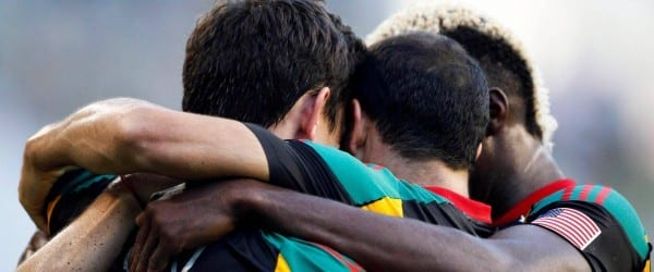 The LA Galaxy huddle before taking on the Seattle Sounders