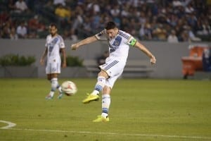 The LA Galaxy's Robbie Keane takes a shot in the July 4th game vs the Portland Timbers. Photo by Robert Mora / LA Galaxy