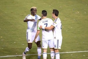The LA Galaxy's Gyasi Zardes, Robbie Keane and Stefan Ishizaki celebrate after an LA Galaxy goal