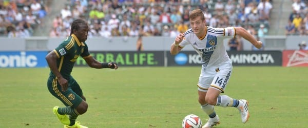Photo by Robert Mora / LA Galaxy - Robbie Rogers plays in the LA v POR on 8.2.2014 at StubHub Center