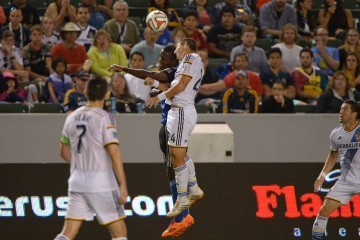 The LA Galaxy's Omar Gonzalez goes up for a header in the LA vs SJ game. Photo by Robert Mora / LA Galaxy
