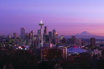 Downtown Seattle and Mount Rainier at Sunset, Washington