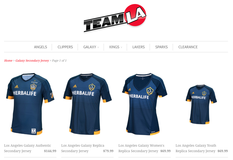 Screen Shot from TeamLAStore.com