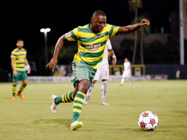 Freddy Adu, the former U.S. youth soccer phenomenon who recently joined the Tampa Bay Rowdies of the North American Soccer League. http://www.wralsportsfan.com/soccer/image/14806510/?ref_id=14806509#02uR2P7XYOCfFDRA.99