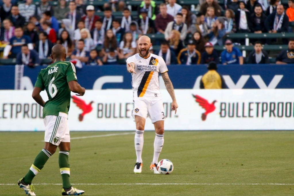 Jelle Van Damme plays vs Portland at StubHub Center. Photo by Brittany Campbell.