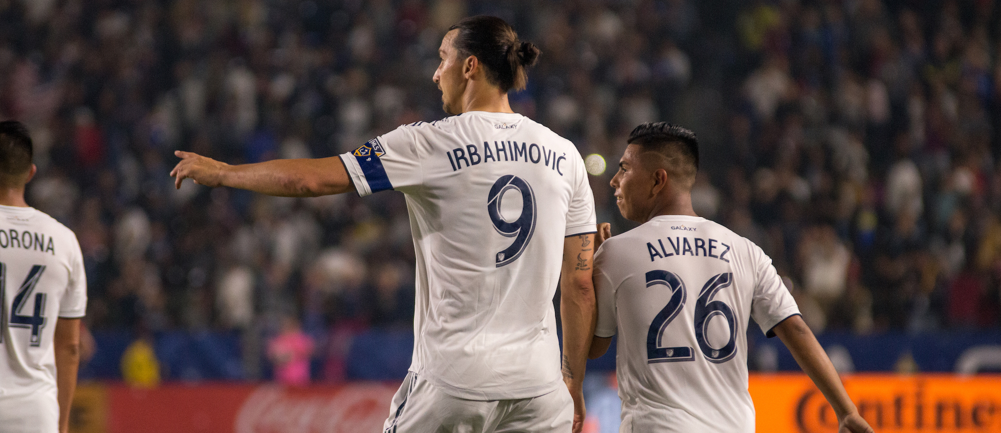 Zlatan Ibrahimovic and Efrain Alvarez after the Galaxy scored against Toronto FC on July 4, 2019